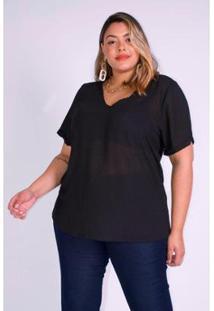 Blusa Fina Chiffon Plus Size Kauê Plus Size Feminina - Feminino-Preto