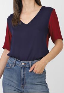 Blusa Calvin Klein Color Block Azul-Marinho/Vinho - Kanui