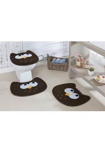 Jogo De Banheiro Formato Coruja Café Guga Tapetes