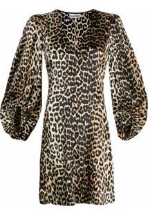 Ganni Vestido Com Estampa De Leopardo - Marrom