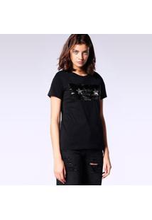 Camiseta Diesel T-Sily-I Feminina - Feminino-Preto