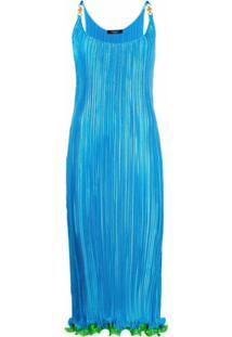 Versace Vestido Longo Plissado - Azul