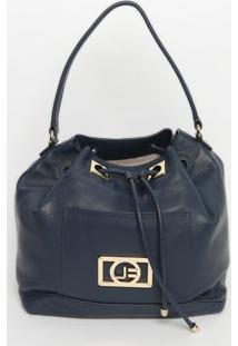 Bolsa Saco Em Couro Com Bolso- Azul- 31X50X16Cmjorge Bischoff