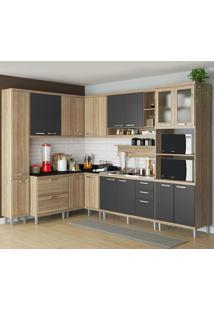Cozinha Completa 16 Portas 5 Gavetas Sicilia 5802 Argila/Grafite Premium - Multimóveis