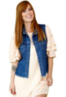 Colete Coleteria Jeans Dupla Face Azul