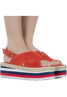 Sandália Flatform Vermelha De Camurça Taquilla