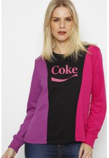 "Blusã£O ""Cokeâ®"" Com Recortes- Preto & Pink- Coca-Colacoca-Cola"