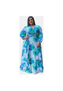Vestido Estampado Floral Manga Longa Tnm Collection Azul Plus Size