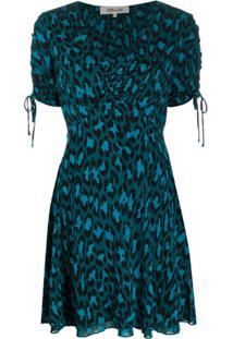 Diane Von Furstenberg Vestido Com Estampa De Leopardo - Azul