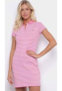 Vestido Polo Tommy Hilfiger New Chiara Str Listrado - Feminino-Rosa
