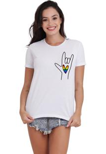 Camiseta Basica Joss Lgbt Rock Love Branca - Kanui