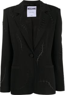 Moschino Stitch Detail Blazer - Preto