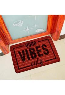 Capacho Carpet Good Vibes Only Vermelho