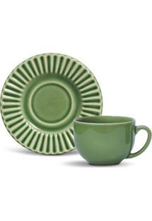 Xícara Chá Porto Brasil Plisse Verde 161Ml Com Píres