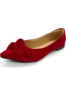Sapatilha Feminina Bico Fino Nó Confort Vermelho - Kanui