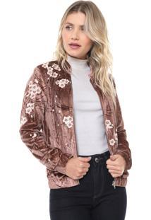 Jaqueta Bomber Lily Fashion Veludo Bordada Bege