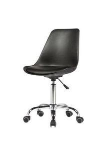 Cadeira Chicago Couro Preto Base Cromada Rodizio 102Cm - 62569 Preto