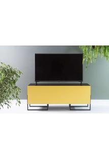 Rack Para Tv Compacto Preto Estilo Industrial 2 Portas Amarelas Pés De Metal Crosby 123X43,6X48,5 Cm