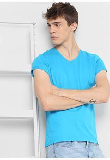 Camiseta Drezzup Gola V Masculina - Masculino-Azul Piscina
