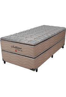 Cama Box Solteiro Sublime Plw Top Duplo – Pelmex - Camurça / Bege / Marrom