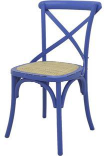 Cadeira Katrina Madeira Assento Em Rattan Cor Azul - 19165 - Sun House