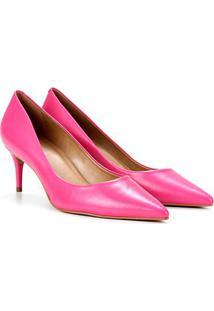 Scarpin Couro Carrano Salto Médio Bico Fino - Feminino-Pink