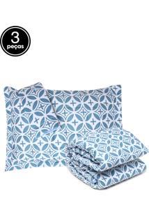 Kit 3Pçs Colcha Queen Altemburg Essence Windsor 200 Fios Azul