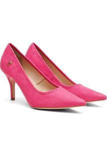 Scarpin Feminino Camurça Candy Color Bico Fino Salto Médio - Feminino-Rosa