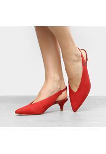Scarpin Couro Capodarte Salto Baixo Chanel - Feminino-Vermelho