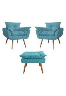 Kit 02 Poltronas Decorativas Mais Um Puff Opalla Pés Palito Azul Turquesa - Ds Estofados