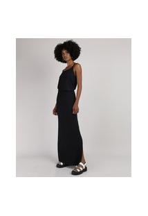 Vestido Feminino Básico Longo Blusê Alça Fina Preto
