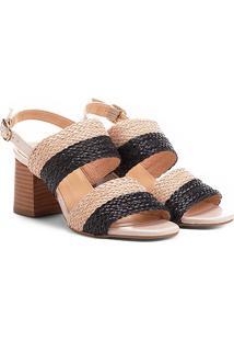 Sandália Shoestock Salto Grosso Mix Tressê Feminina - Feminino-Preto