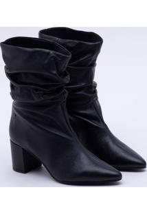 Ankle Boot Couro Slouch Preta