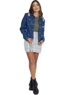 Jaqueta Jeans Le Julie Feminino - Feminino-Azul