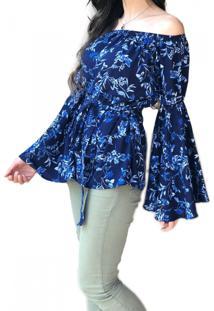 Blusa Ciganinha Hora De Diva Flare Azul
