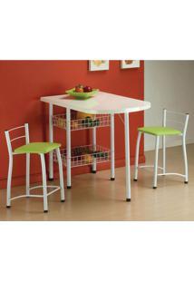 Conjunto De Mesa Com 2 Cadeiras Amanda Verde