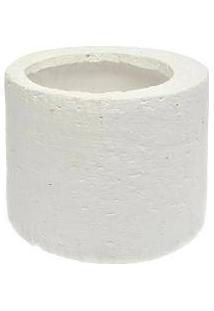 Cachepô Cylinder Branco Médio Em Cerâmica - 15X12 Cm