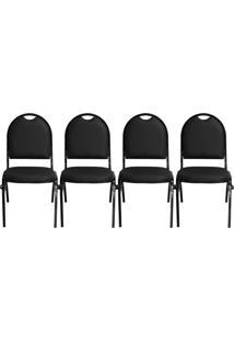 Kit 04 Cadeiras Pethiflex Essencial Hot Fixável Couro Preto