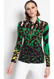 62391bfe69 ... Camisa Abstrata Em Seda - Preta   Verdeversace