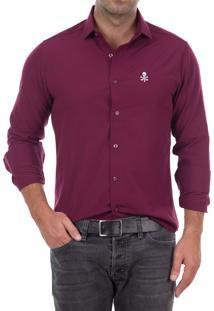 Camisa Polo Factory Skull Nyc - Vinho P