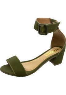 Sandalia Mariha Calçados Maxi Fivela Verde Militar