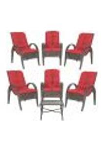 Jogo Com Cadeiras 6Un E Mesa P/ Jardim Edicula Varanda Descanso Trama Napoli Plus Pedra Ferro A16