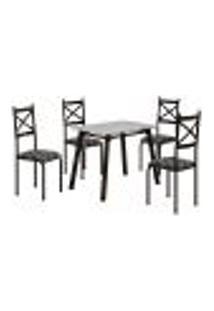 Conjunto De Mesa Com 4 Cadeiras Cris Preto
