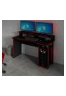 Mesa Gamer Master Preta E Vermelha