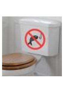 Adesivo De Banheiro Para Vaso Acoplado Proibido Pescar - P 25X20Cm
