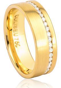 Aliança De Ouro 18K Anatômica Fosca Larga Com Friso Polido E Diamantes (5,90Mm)