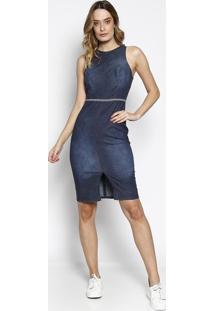 bac191708 ... Vestido Jeans Estonado Com Fenda- Azul Escuro- Colcccolcci