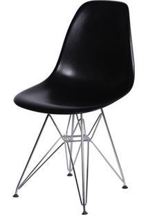 Cadeira Eames Dkr- Preta & Prateada- 80,5X46,5X42Cm