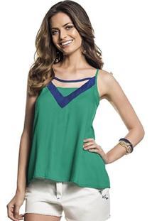 Blusa Tricoline Alças Finas Verde Detalhe Azul