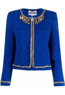 Moschino Jaqueta Com Padronagem Smiley - Azul
